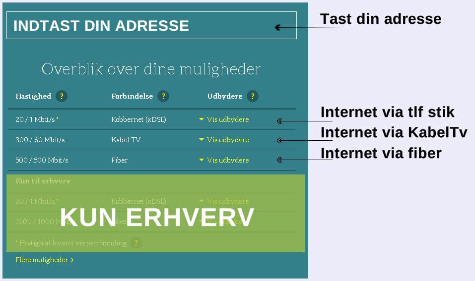 internetforbindelse, hvad kan jeg få